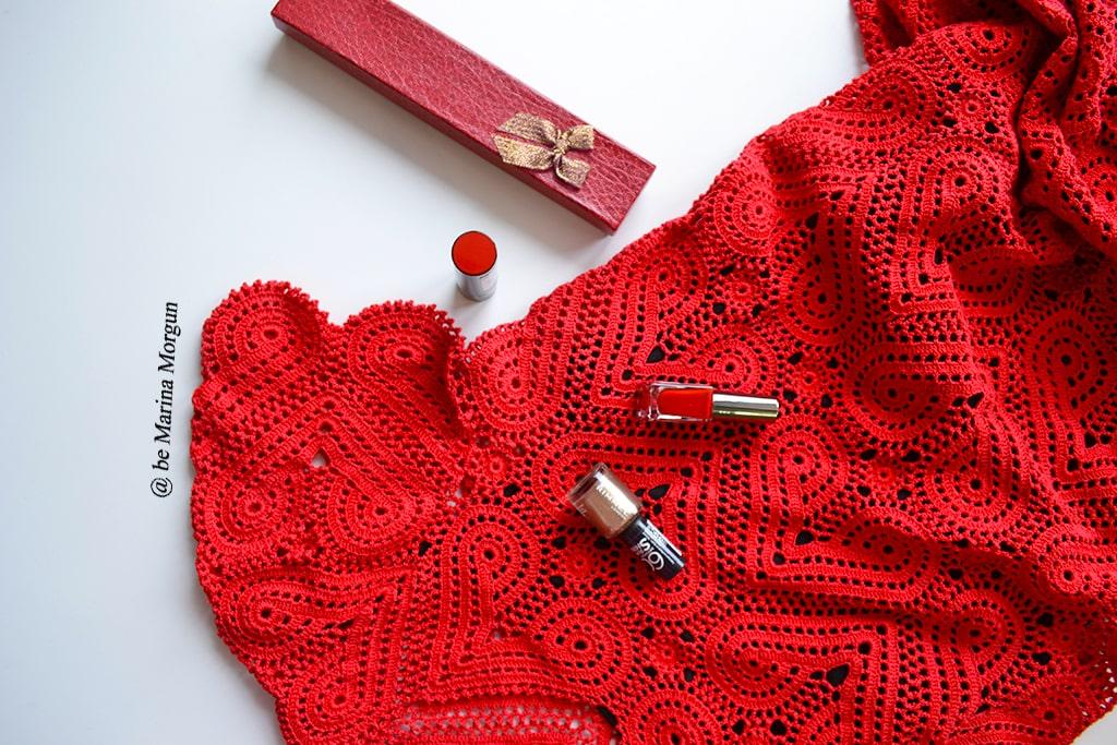 Красное платьице из сердечных мотивов мастер-класс