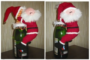 knitted Santa on a bottle of champagne