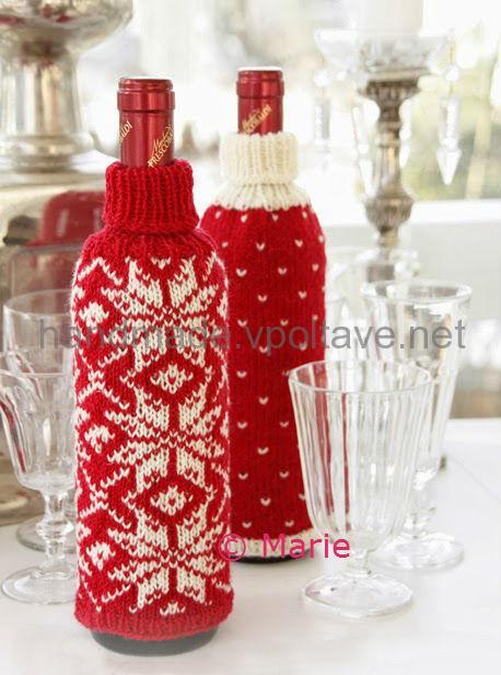 вязаный новогодний подарочный чехол на бутылку