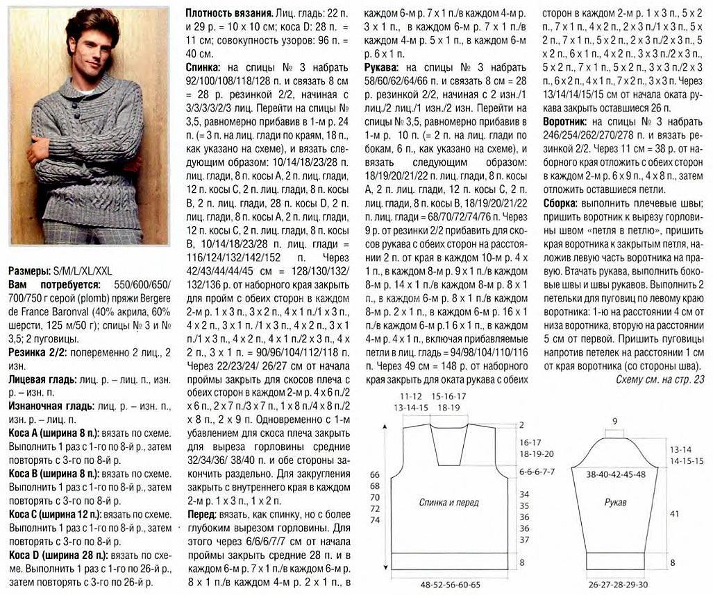 Вязание мужского свитера спицами с описанием