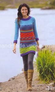 разноцветное тёплое платье спицами