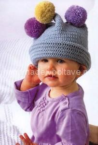 little girl hat with pompoms