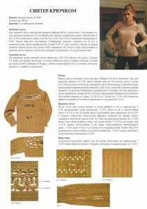 вязаный свитер крючком описание