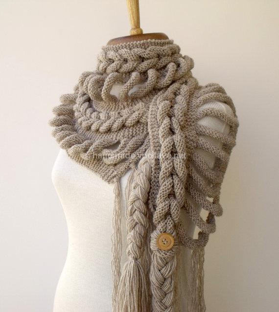 шарф вязаный косами