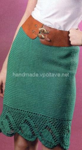 Зеленая юбка крючком
