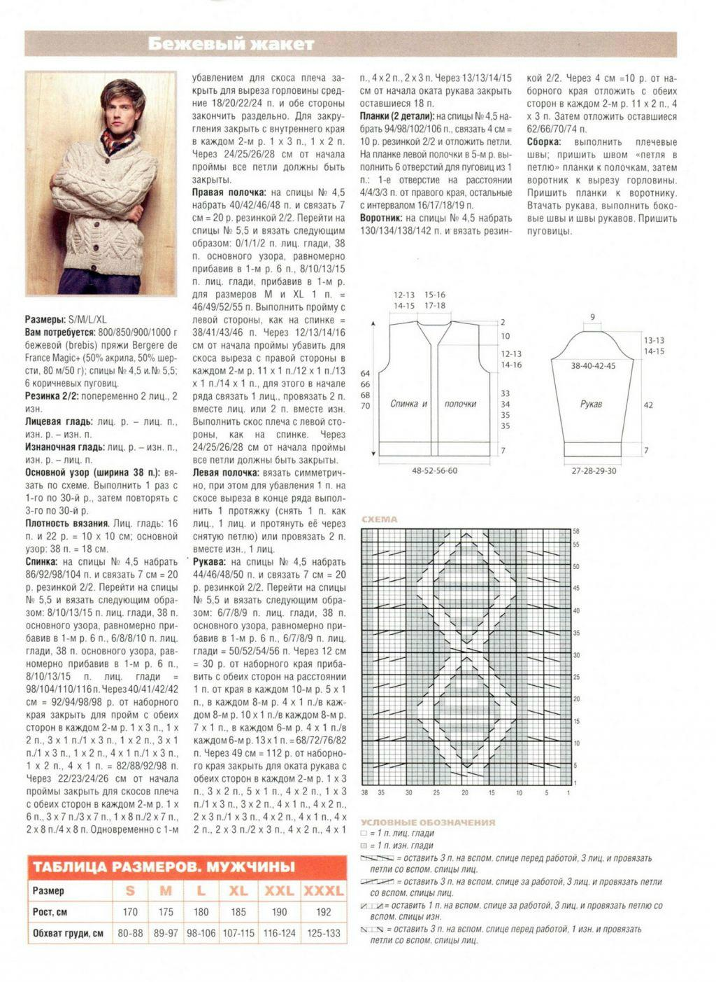 Вязание спицами с описание кофта с пуговицами7